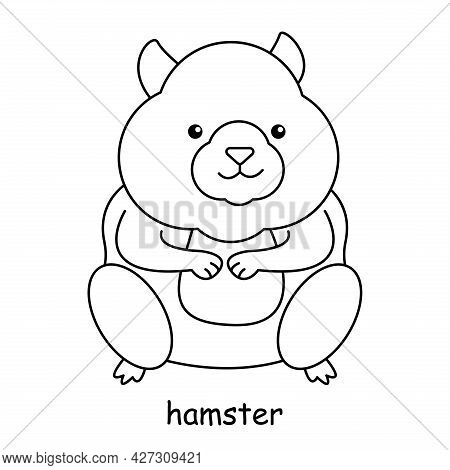 Children Coloring Book On The Theme Of Animal Vector, Hamster