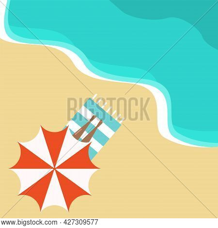 Vector Top View Of The Beach With The Seashore On Which A Girl With A Tan Is Lying Under An Umbrella