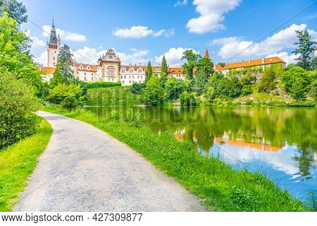 Pruhonice Castle And Natural Park Landscape With Garden Lake On Sunny Summer Day, Pruhenice, Czech R