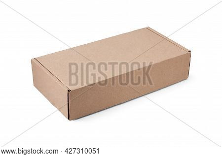 Rectangular Cardboard Box Isolated On White.