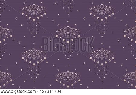 Vector Seamless Backround And Pattern With Moths