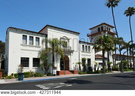 SEAL BEACH, CALIFORNIA - 16 jul 2021: The Seal Beach City Administration Building.