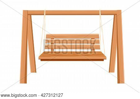 Wooden Swing Backyard Furniture, Hanging Bench In Cartoon Style Isolated On White Background. Rural