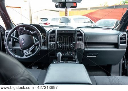 Ukraine, Odessa July 8 - 2021: Ford F-350 Car Interior With Big Display Navigation Unit, Automatic T