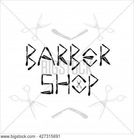 Barber Shop Vector Illustration . Design Elements Collection For Emblems, Logo, Labels. Bearded Men