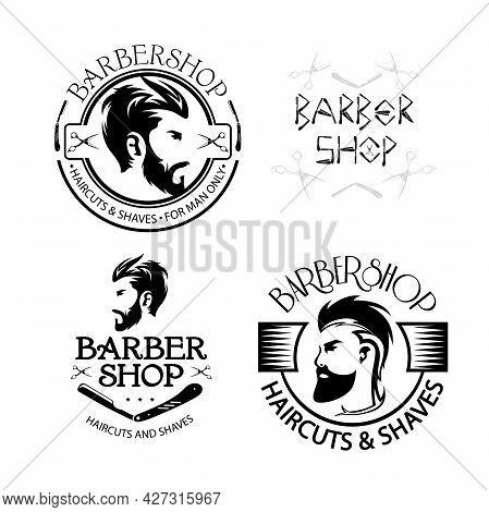 Barber Shop Vector Vintage Illustration Set. Bearded Men Barbershop Monochrome Silhouette. Design El