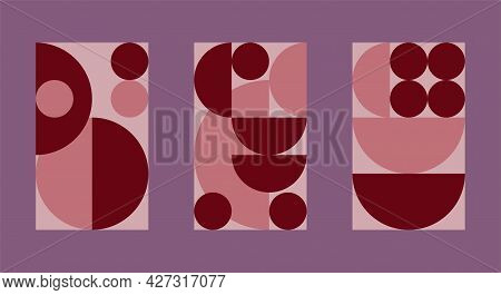 Set Of Patterns In Bauhaus Style For Interior Posters. Swiss Style Background. Geometric Composition