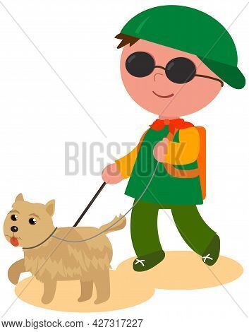 Blind Child Walking With His Guide-dog, Cartoon Vector Illustration Isolated On White.