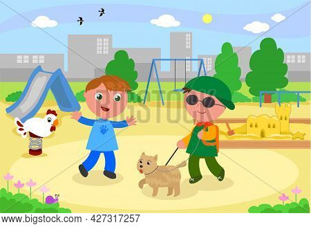 Blind Child With Guide-dog Meeting A Friend At The Playground In Town, Cartoon Illustration Vector