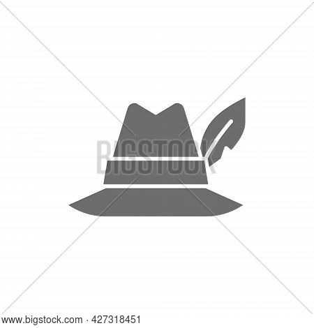 Hat With Feather, Hunter Headdress Grey Icon.