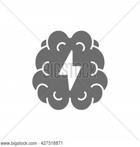 Vector Stroke, Pain In Brain Grey Icon.