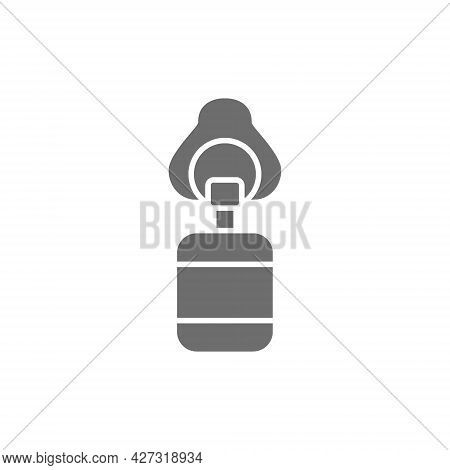 Artificial Ventilation Bag Grey Icon. Isolated On White Background