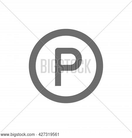 Vector Car Parking Sign Allowed Grey Icon.