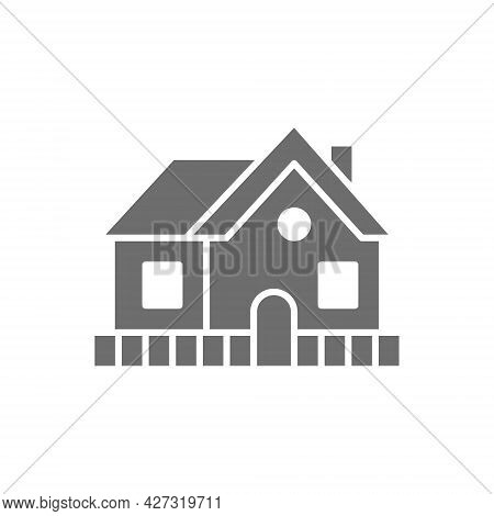 Vector Vacation Home, Country House Grey Icon.