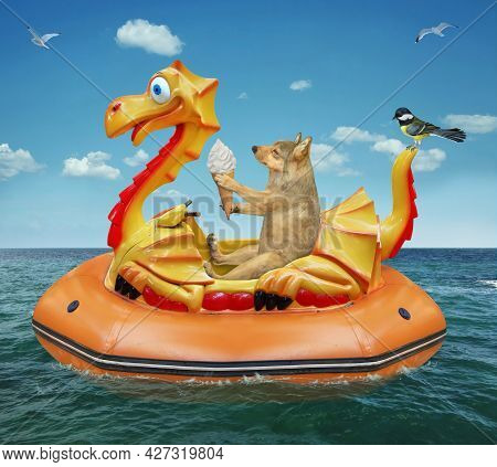 A Beige Dog With Ice Cream Is Floating On An Inflatable Dragon In The Sea At A Resort.