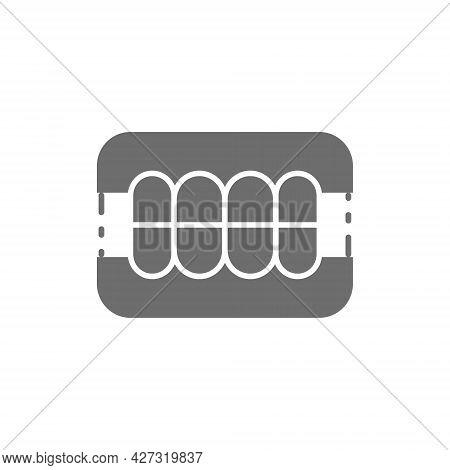 Dentures, Dental Prosthesis, Tooth Orthopedics Grey Icon.
