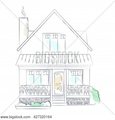 Blue Color Outline Architectural Sketch Of A Detached Family House With Garden. Vector