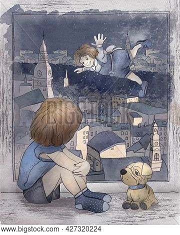 Children's Cartoon Illustration. The Tale Of Carlson Who Lives On The Roof. The Kid Sits On The Wind