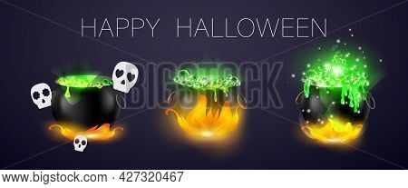 Vector Illustration Witchs Cauldron. Can Be Used For Poster, Banner, Greetings Card, Sticker.there I