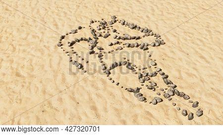 Concept conceptual stones on beach sand handmade symbol shape, golden sandy background, colorful runner sign. 3d illustration metaphor for athlete, sprinter, marathon, competition, exercise, health