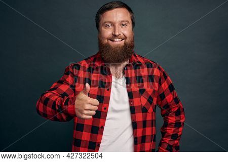 Good Job, Nicely Done. Satisfied Smiling Handsome Young Male Coworker Give Positive Feedback, Show T