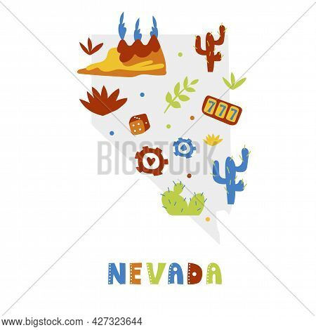 Usa Map Collection. State Symbols And Nature On Gray State Silhouette - Nevada. Cartoon Simple Style