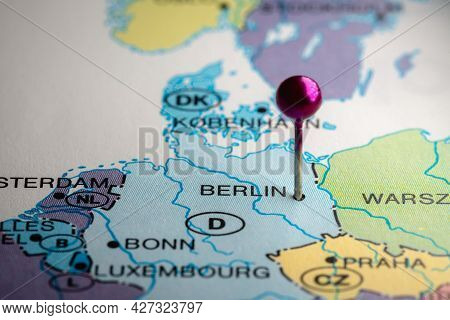 Berlin, Germany, Europe Pinned On A Map. Destinations, Day Trip, Travel, Destination