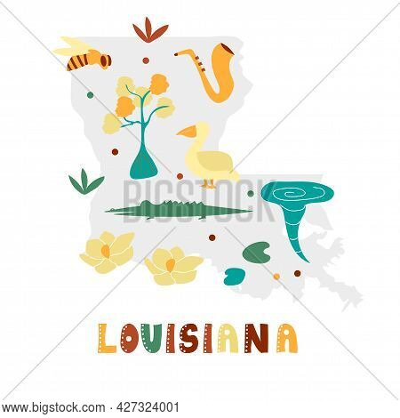 Usa Map Collection. State Symbols And Nature On Gray State Silhouette - Louisiana. Cartoon Simple St