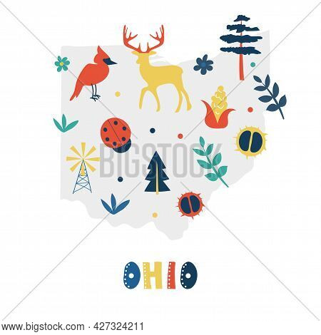 Usa Map Collection. State Symbols And Nature On Gray State Silhouette - Ohio. Cartoon Simple Style F