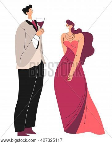 Rich People Communicating, Man And Woman Couple