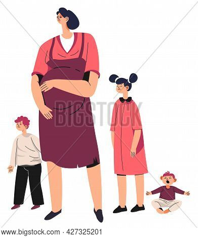 Unhappy Or Tired Pregnant Woman With Children