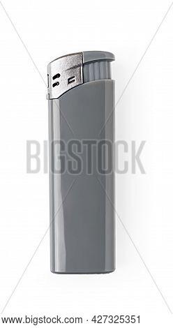 Disposable Plastic Gas Lighter Isolated On White Background. Gray Cigarette Lighter Studio Shot. Smo