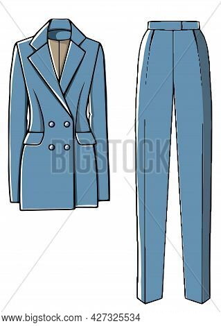Stylish Costume Of Trousers And Jacket For Girls
