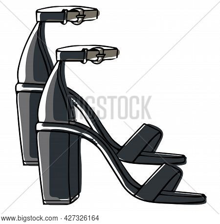 Leather Sandals On Heel With Straps, Footwear
