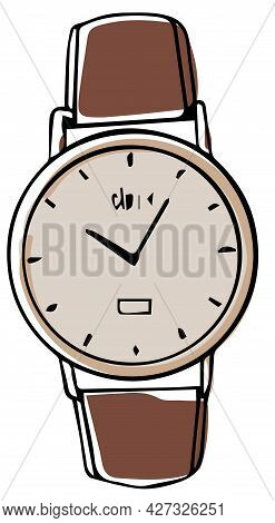 Wrist Watch Clock With Leather Strap, Accessory