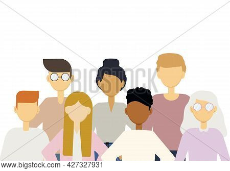 Illustration Of A Large Number Of People Of Different Nationalities. Population Of The Earth