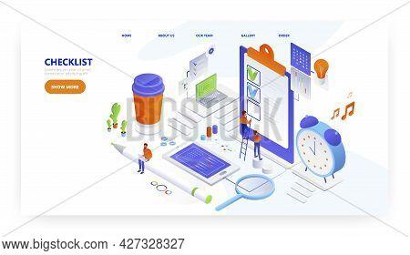 Office People Mark Completed Tasks On Checklist. Landing Page Design, Website Banner Vector Template