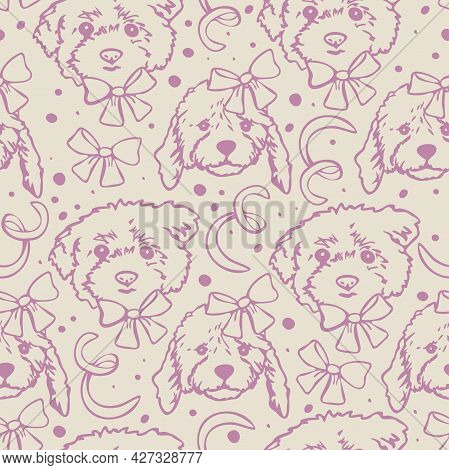 Vector Seamless Pattern With Outlines Of Dogs Heads With Bow Knots. Cute Design With Dog Faces.