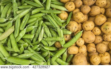 Peas And Creole Potatoes In The Traditional Colombian Market - Pisum Sativum, Solanum Phureja