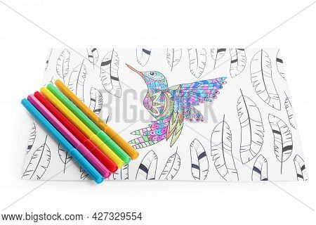 Antistress Coloring Page And Felt Tip Pens On White Background