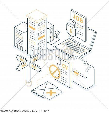 Denied Job - Yellow And Black Isometric Line Illustration