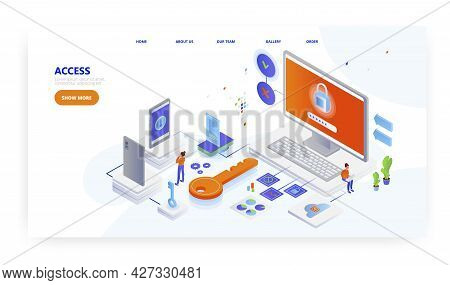 Access, Landing Page Design, Website Banner Vector Template. Secure Password Login Information To Ac