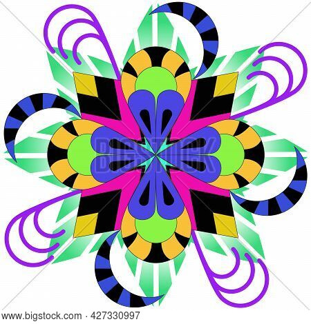 Colored Mandala, With Symmetric Sides Vector Illustration On White Background.