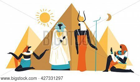 Egyptian Pyramids, Sun And Ancient Deities Vector