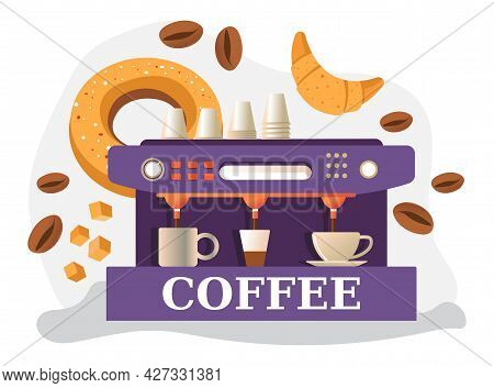 Coffee Machine With Mugs, Beans And Baked Pastry