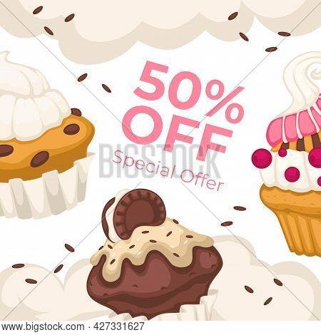 Special Offer In Bakery Shop, 50 Percents Off