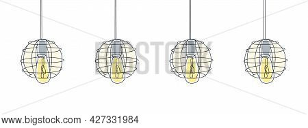 One Line Art. Loft Lamps Line Art Design. One Line Drawing Of Electric Light Bulbs And Lamps. Vector