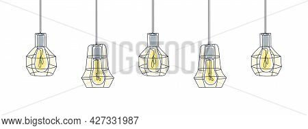 One Line Art. Lamps Line Art Design. One Line Drawing Of Lamps. Vector Illustration