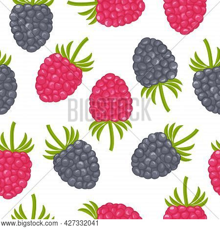 A Bright Autumn Seamless Pattern Consisting Of Juicy Ripe Strawberries, Raspberries, Blackberries Of
