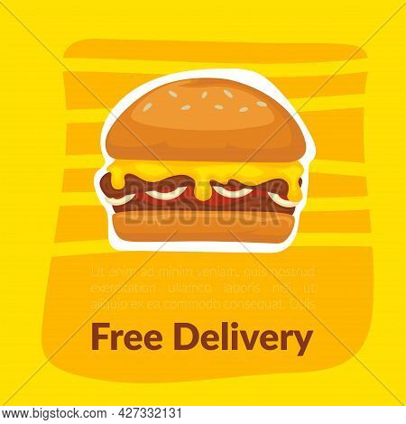 Free Delivery Of Street Food And Fast Meals Vector